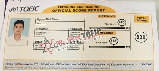 Nguyễn Minh Thành-830 điểm - Ms Hoa Toeic