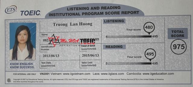 bảng điểm TOEIC thí sinh điểm cao tại ms Hoa