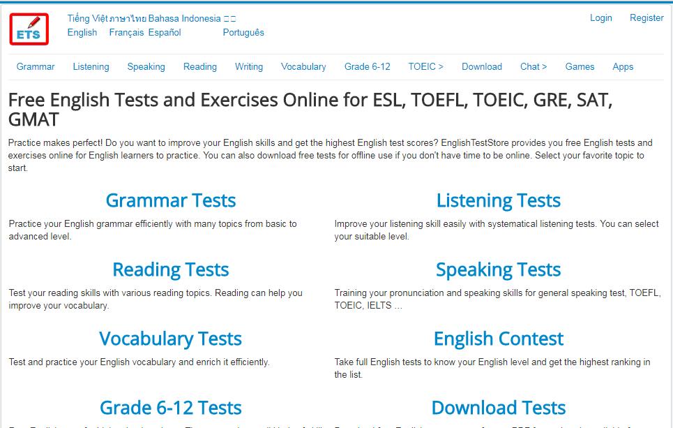 Giao diện trangEnglish Test Store