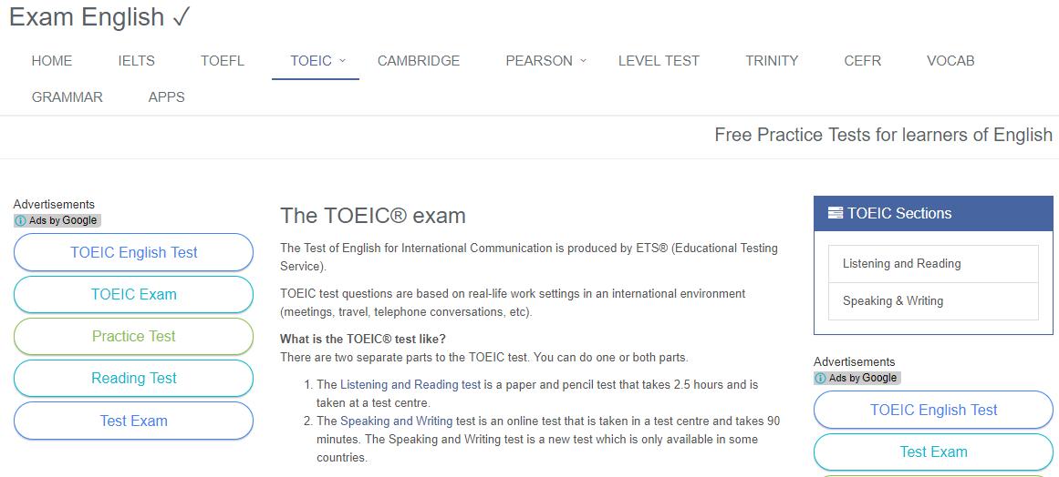 Nguồn thi thử TOEIC Online Examenglish.com