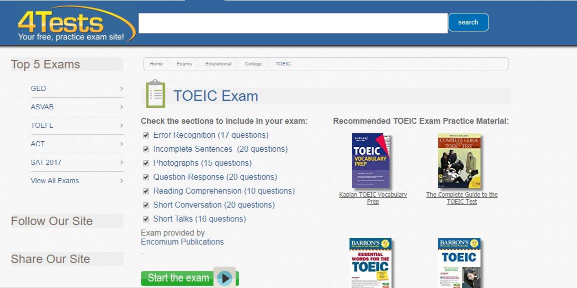 Nguồn thi thử TOEIC Online: 4Tests.com