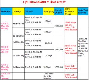 LỊCH KHAI GIẢNG các Lớp luyện thi TOEIC Tháng 6/2012