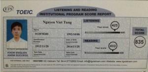 Vinh danh học viên: Nguyễn Việt Tùng, Toeic B70 835 ĐIỂM
