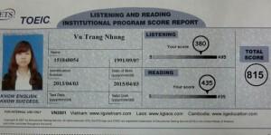 Vũ Trang Nhung - Niềm tự hào lớp TOEIC B73
