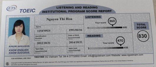 Vinh danh học viên Nguyễn Thị Hoa – Học viên Lớp Luyện thi Toeic B69