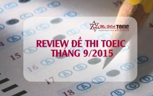 Review đề thi TOEIC thật - tháng 9/2015