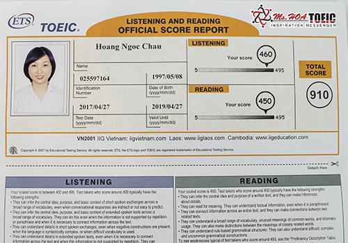 Học viên Hoàng Ngọc Châu lớp B343 đạt 910 TOEIC