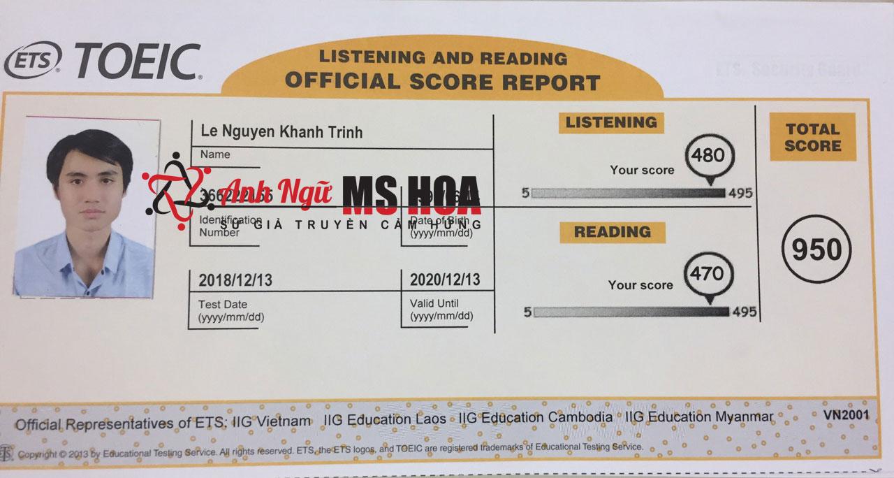 Học viên điểm cao TOEIC - Lê Nguyễn Khánh Trinh