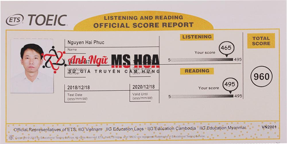 Học viên điểm cao TOEIC - Nguyễn Hải Phúc