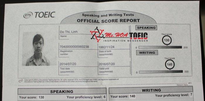Bảng điểm TOEIC Speaking & Writing của Đỗ Thị Linh