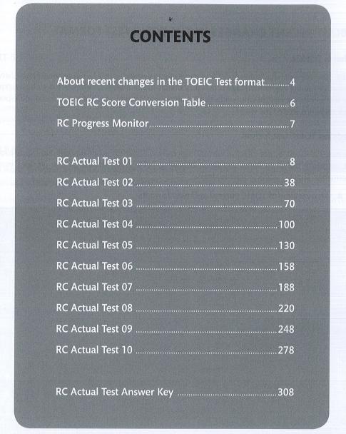 Mục lục sách New Economy TOEIC RC