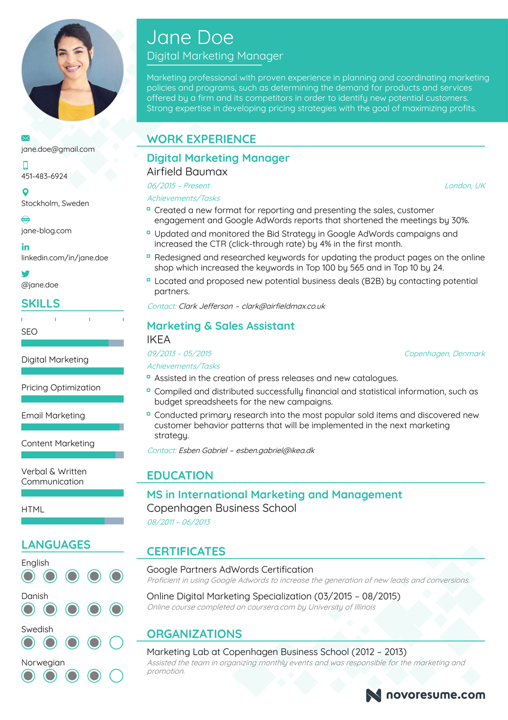 Mẫu CV tiếng anh tiêu biểu (Hình ảnh được lấy từ nguồn tạo CV miễn phí của novoresume)