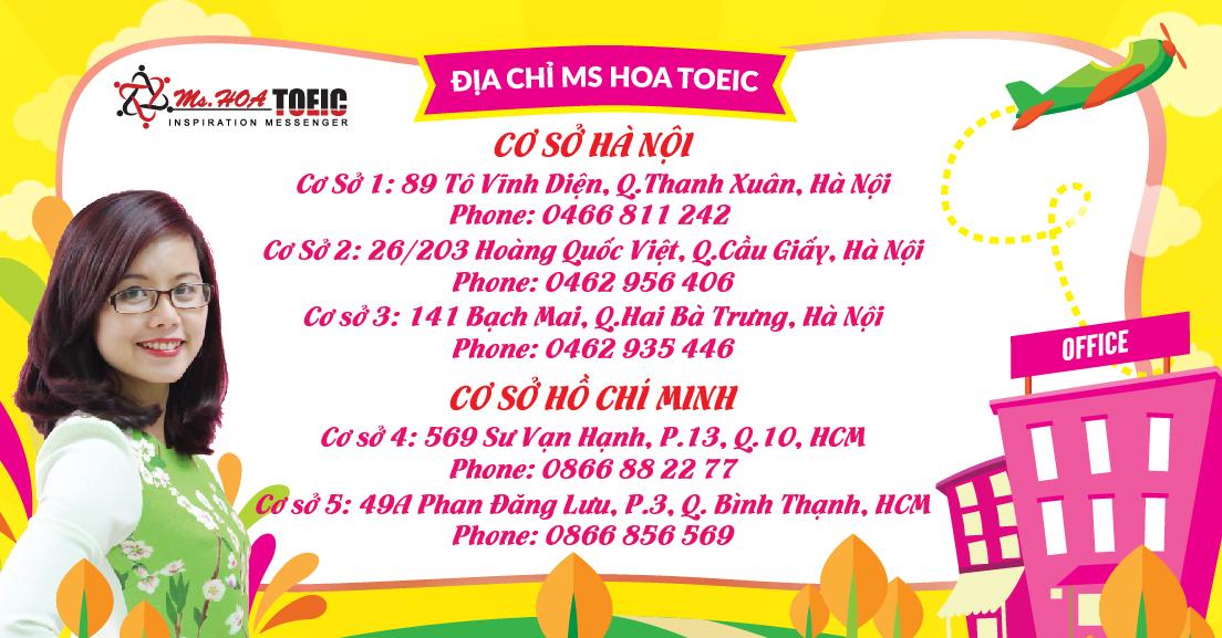 địa chỉ ms hoa toeic ở hà nội và Hồ Chí Minh
