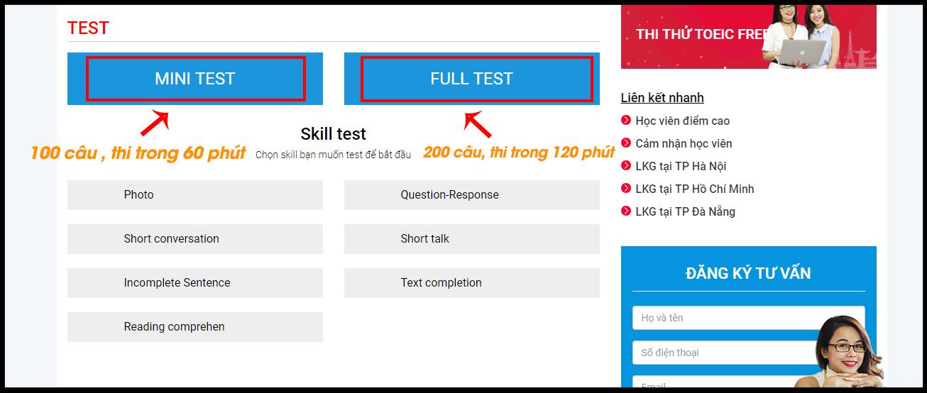 Giao diện lựa chọn làm bài TEST