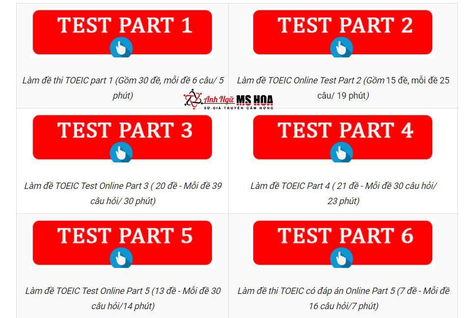 Người học có thể tự kiểm tra năng lực tiếng Anh thông qua các bài test online trên website Anh ngữ Ms Hoa