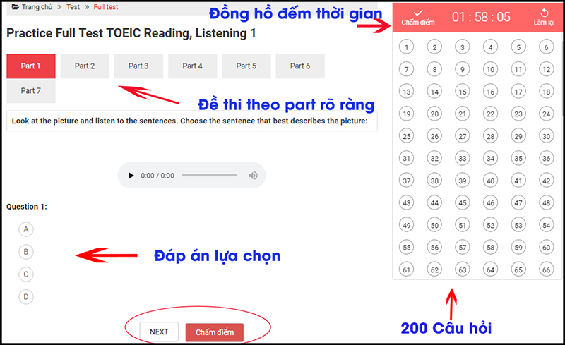 thi thử TOEIC giao diện test
