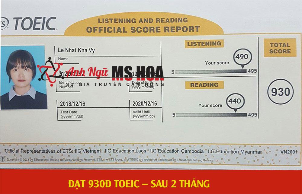 học viên điểm cao 930 toeic_anhngumshoa