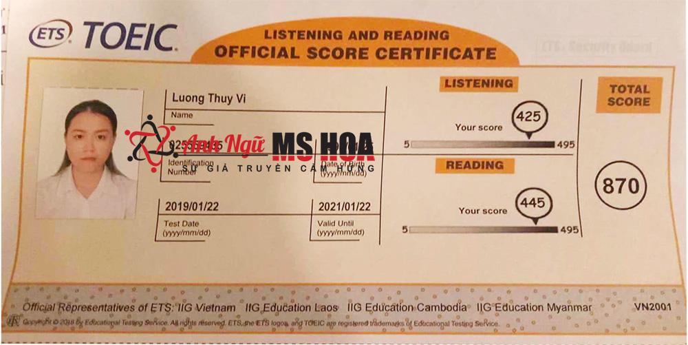 học viên điểm cao 870 toeic_anhngumshoa