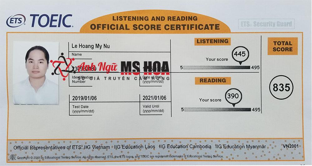 học viên điểm cao 835 toeic_anhngumshoa