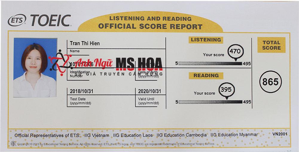 Dành 2 tháng luyện TOEIC cấp tốc, cô gái bất ngờ đạt 865đ - Anh ngữ Ms Hoa